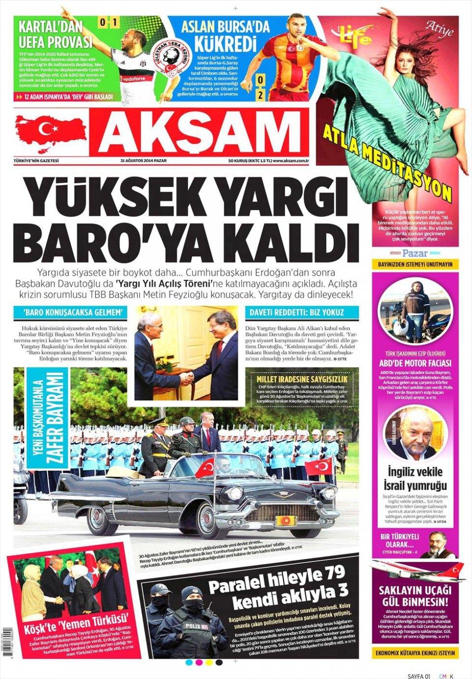 31 Ağustos 2014 gazete manşetleri 1