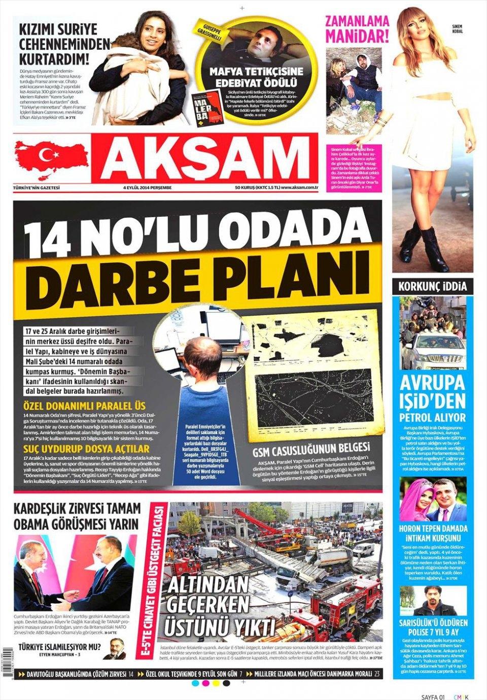 4 Eylül 2014 gazete manşetleri 1