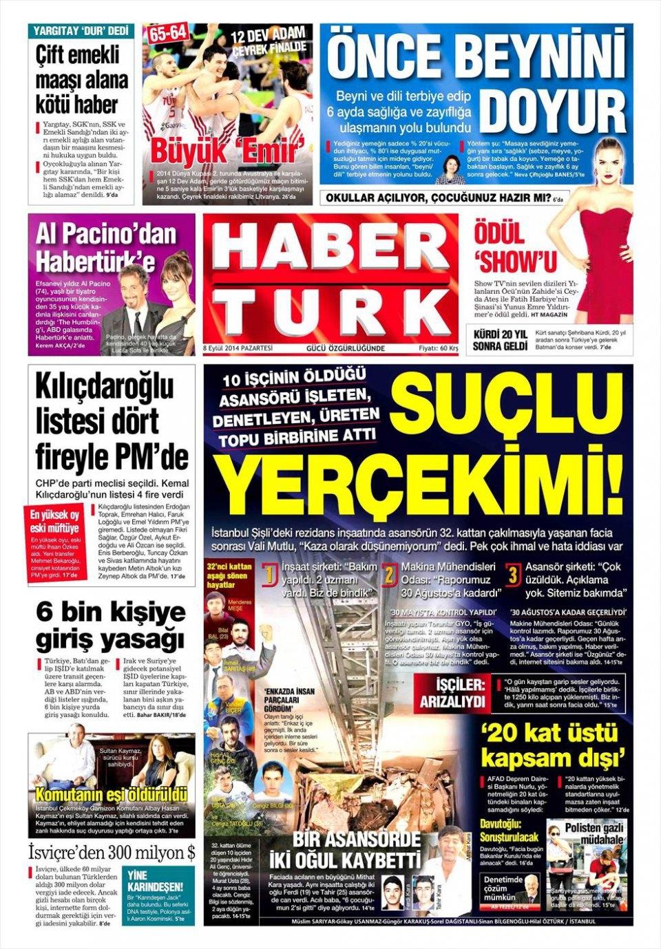 8 Eylül gazete manşetleri 1