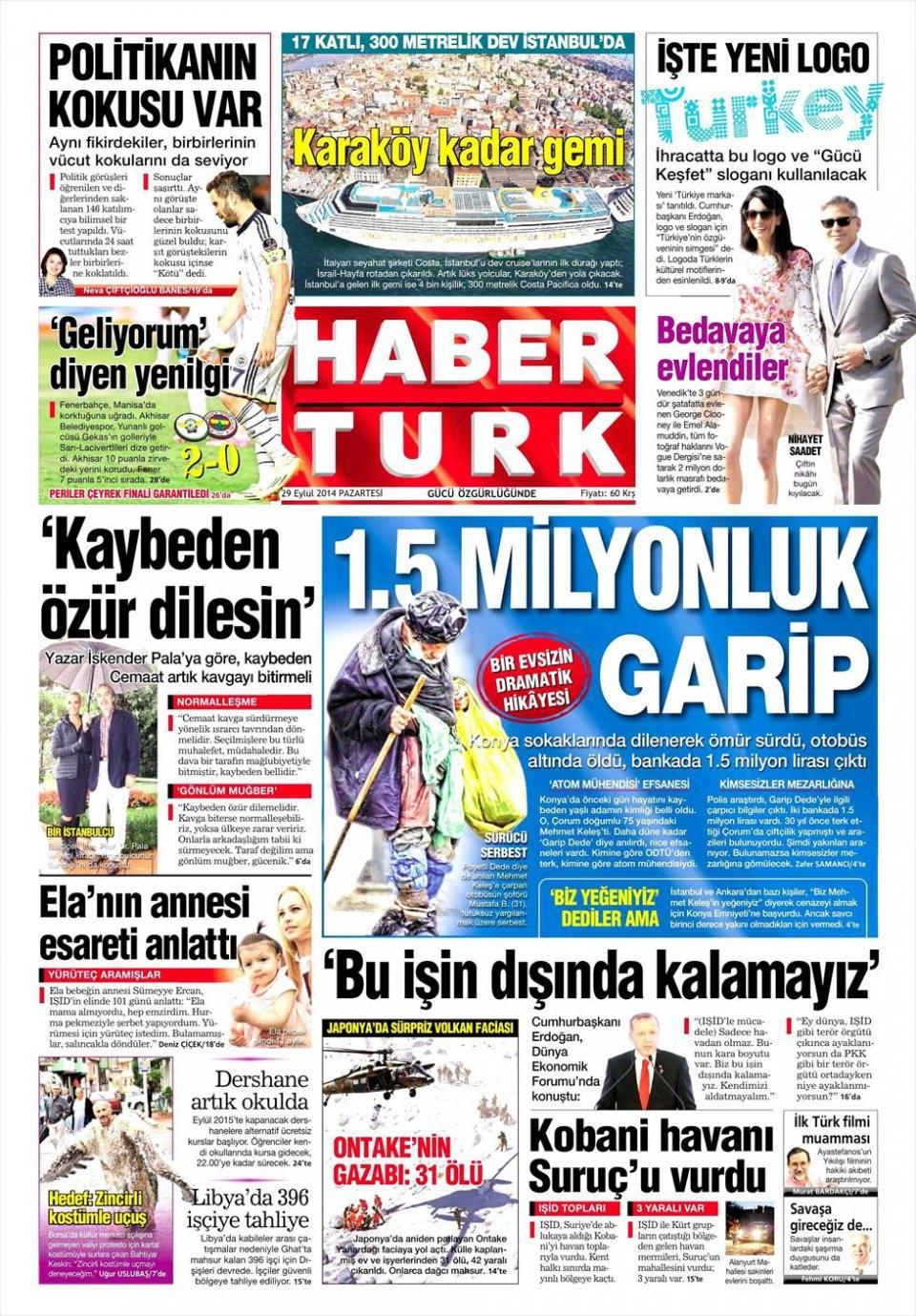 29 Eylül 2014 gazete manşetleri 10