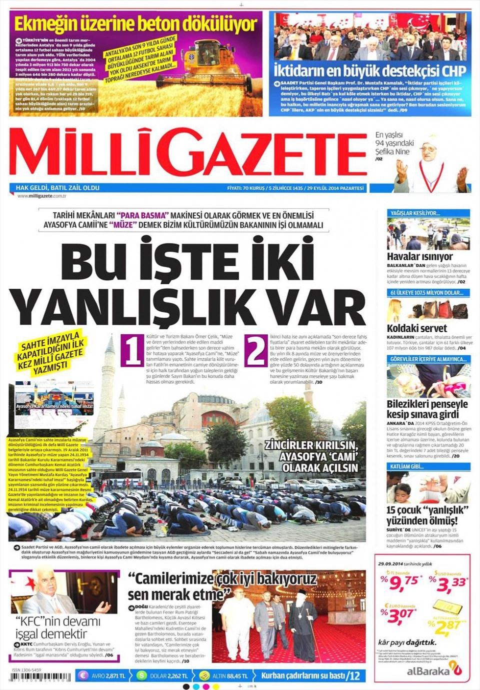 29 Eylül 2014 gazete manşetleri 12