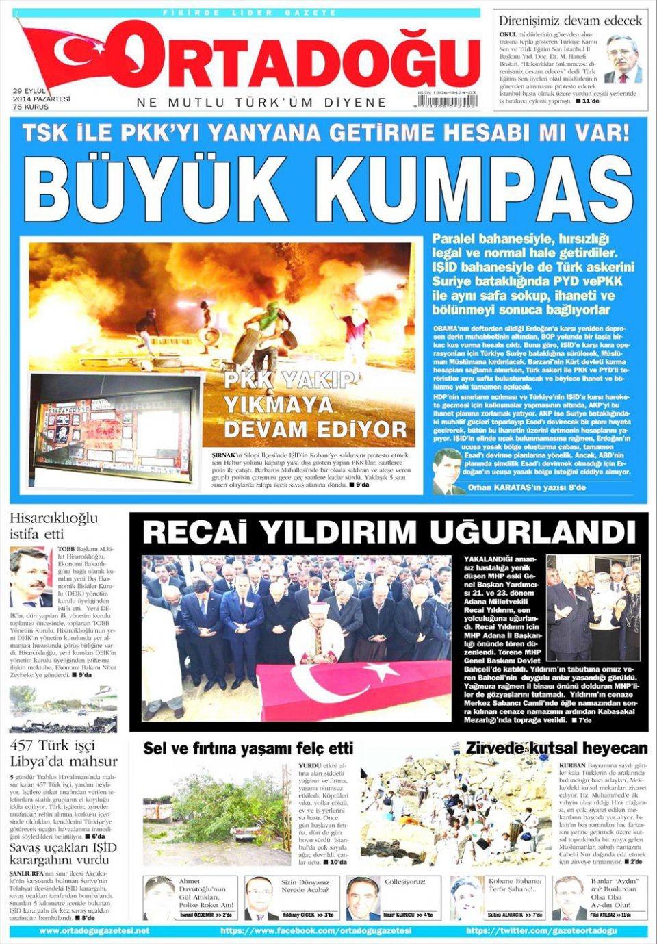 29 Eylül 2014 gazete manşetleri 14
