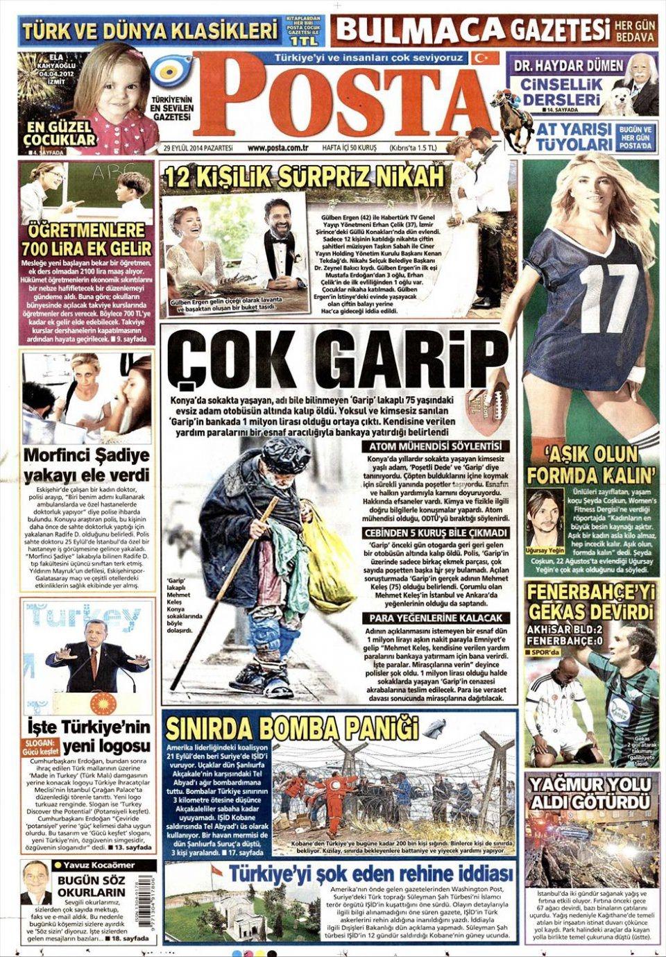 29 Eylül 2014 gazete manşetleri 15