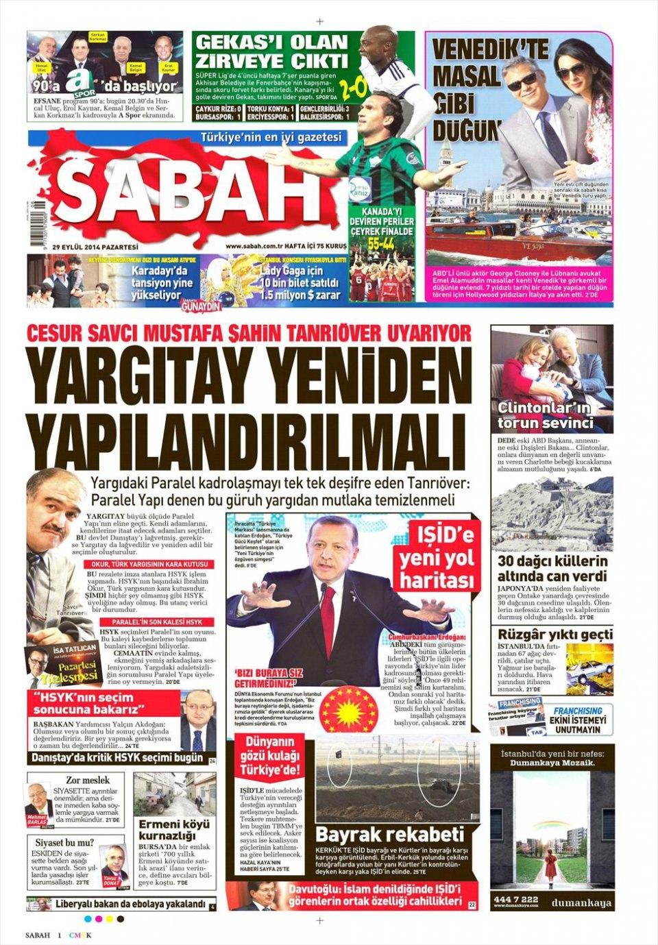 29 Eylül 2014 gazete manşetleri 16