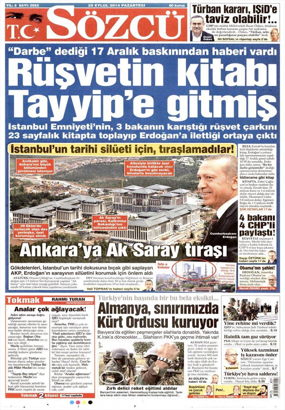 29 Eylül 2014 gazete manşetleri 17