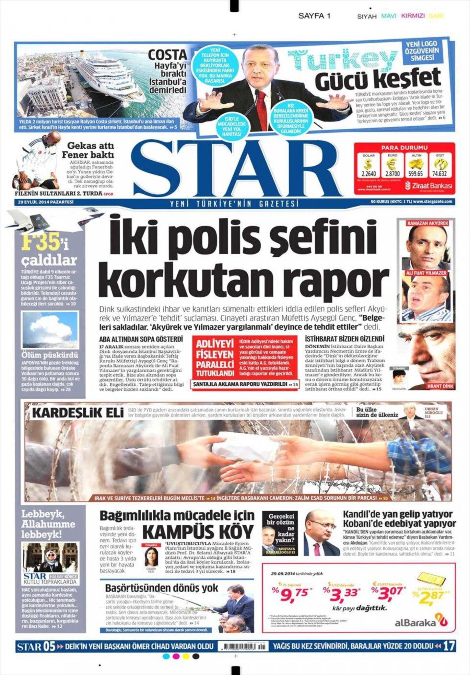 29 Eylül 2014 gazete manşetleri 18