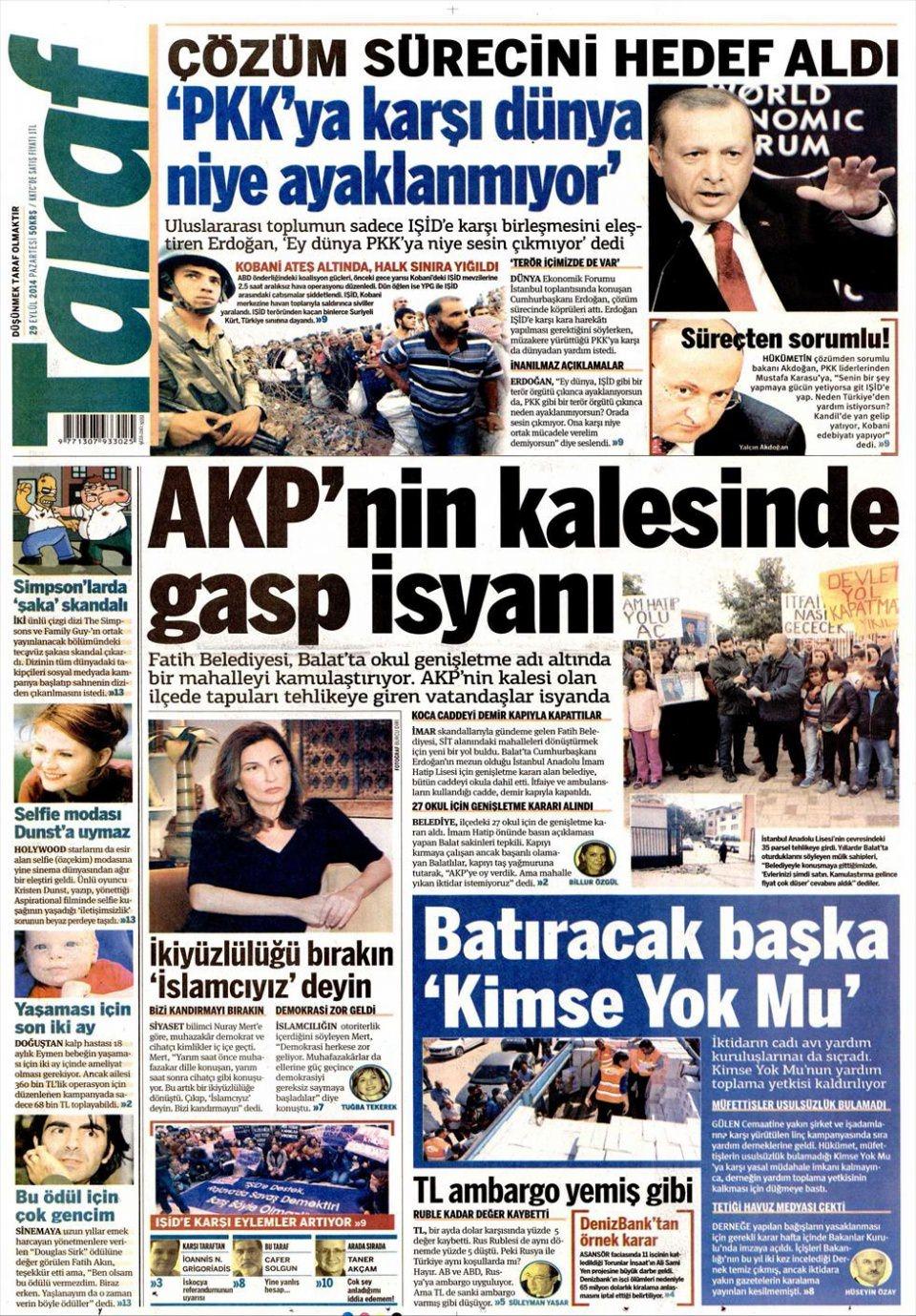 29 Eylül 2014 gazete manşetleri 20