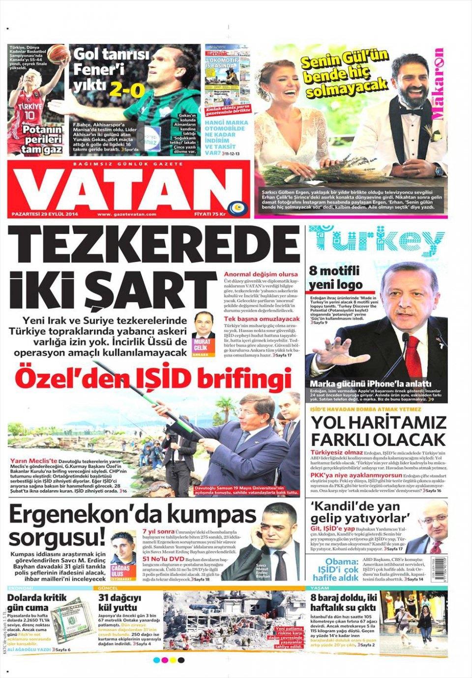 29 Eylül 2014 gazete manşetleri 22