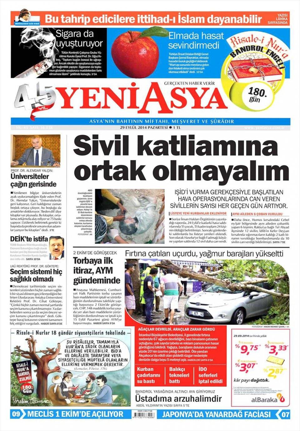 29 Eylül 2014 gazete manşetleri 24