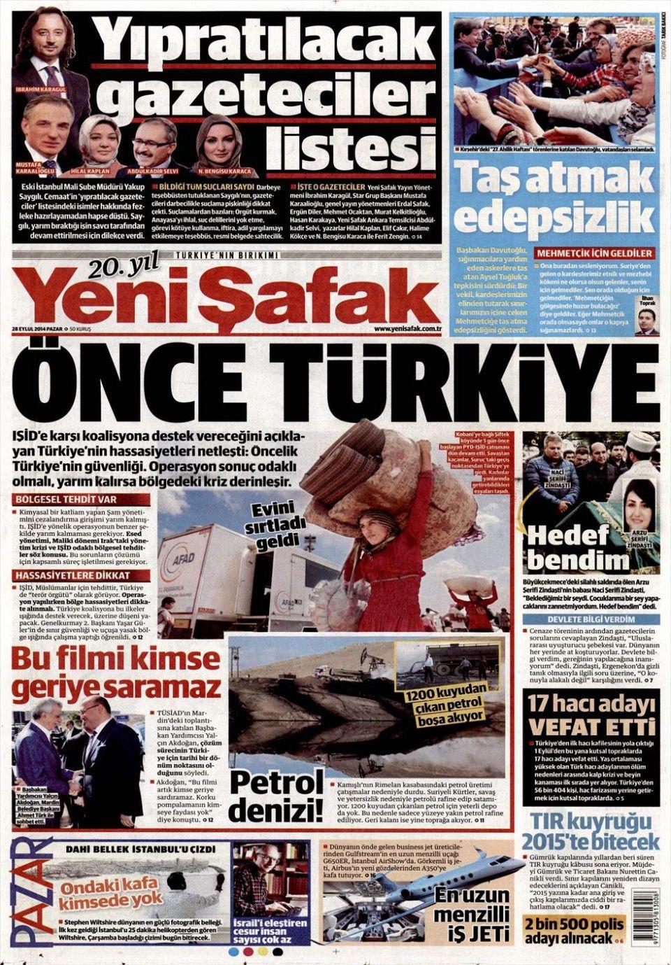 29 Eylül 2014 gazete manşetleri 25