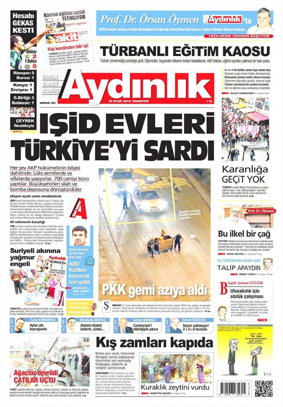 29 Eylül 2014 gazete manşetleri 3