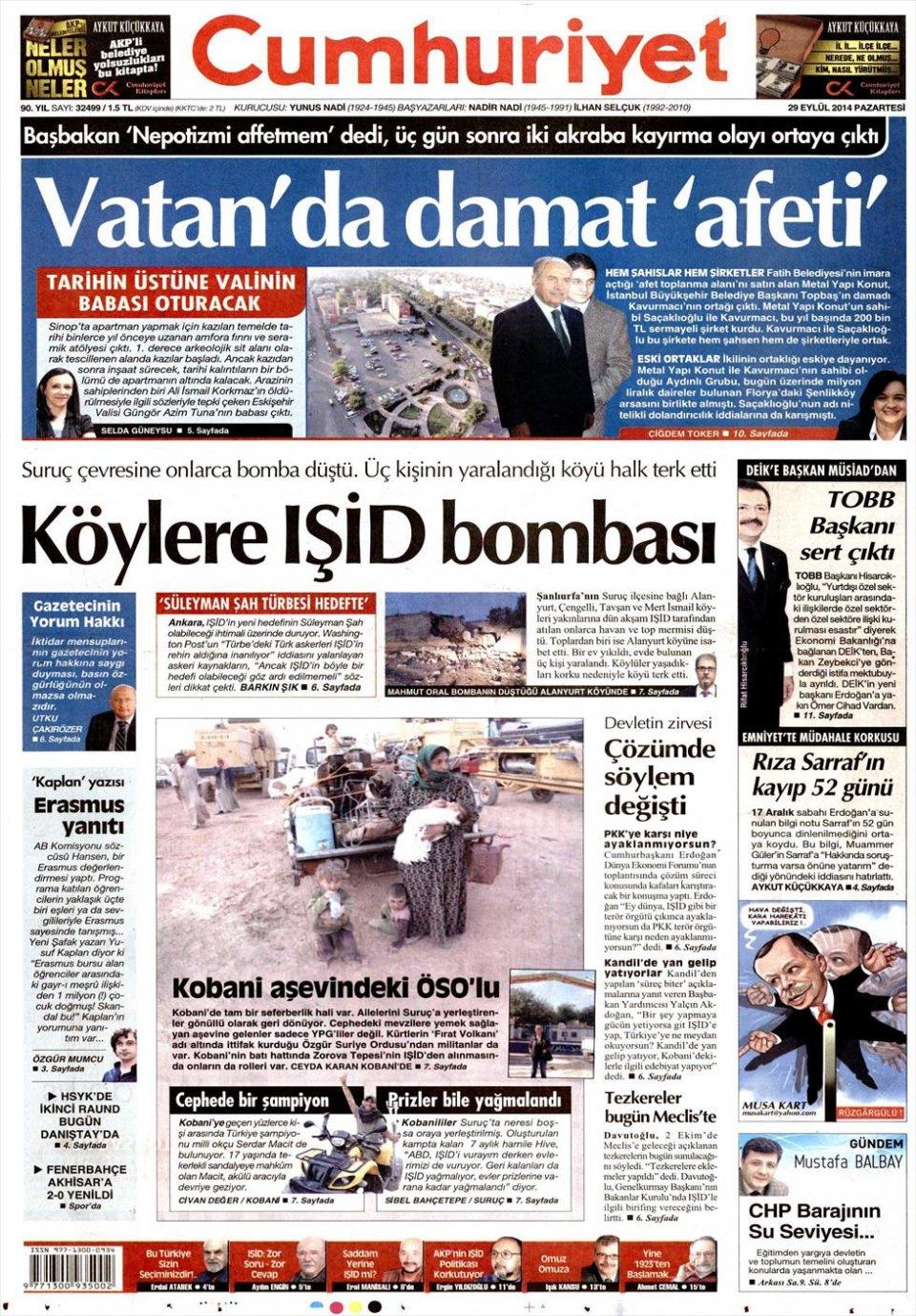 29 Eylül 2014 gazete manşetleri 5