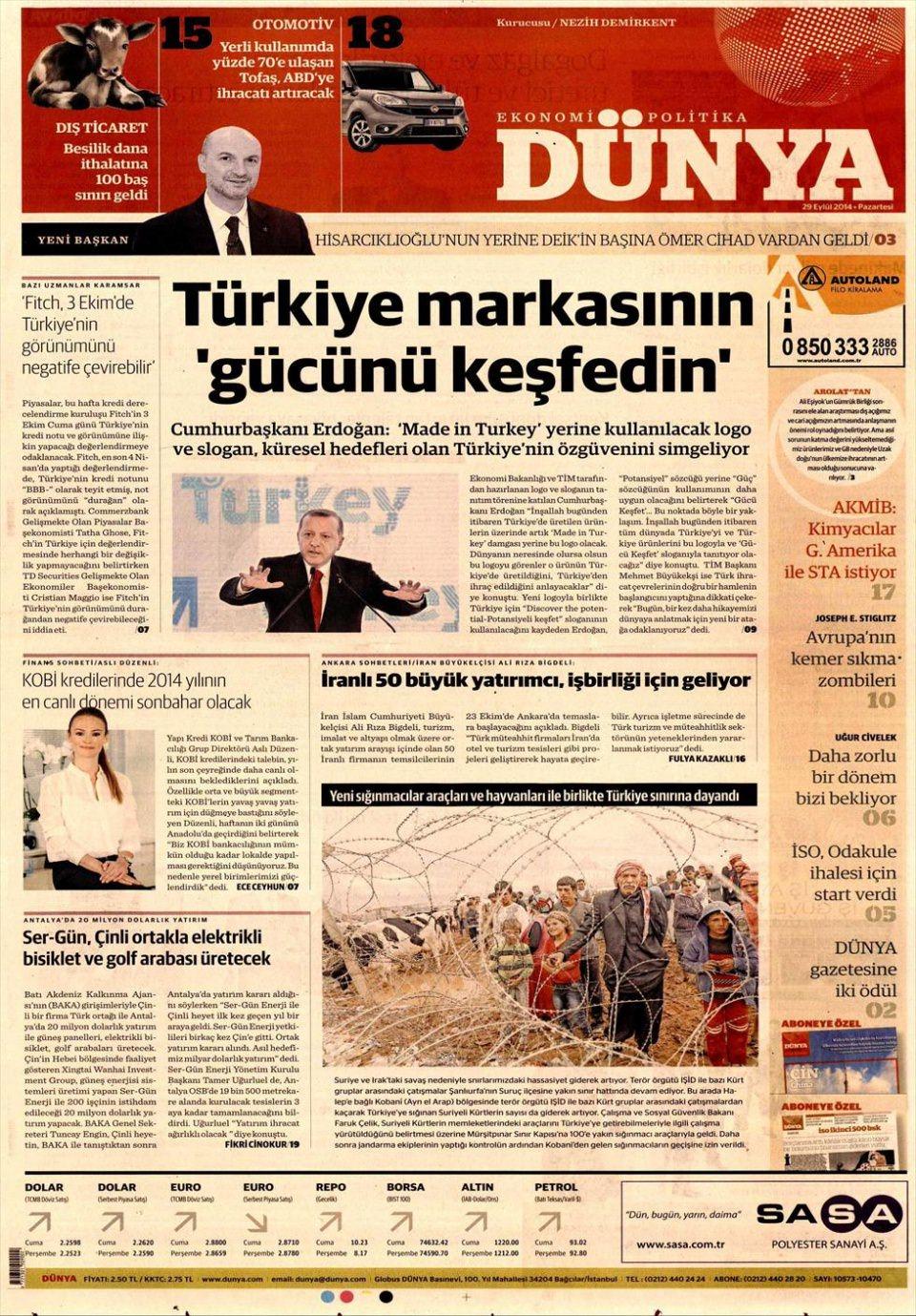 29 Eylül 2014 gazete manşetleri 6