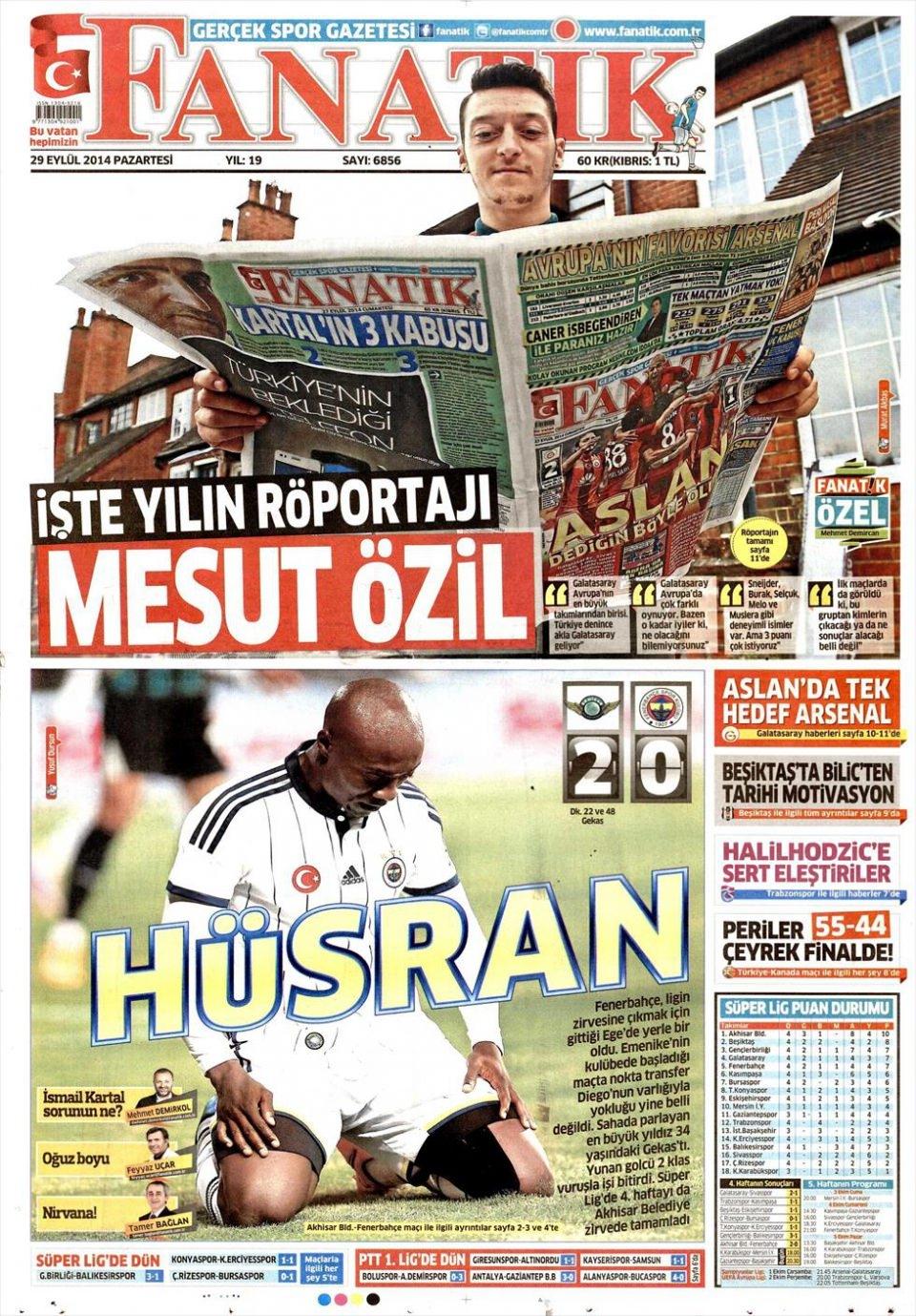 29 Eylül 2014 gazete manşetleri 7
