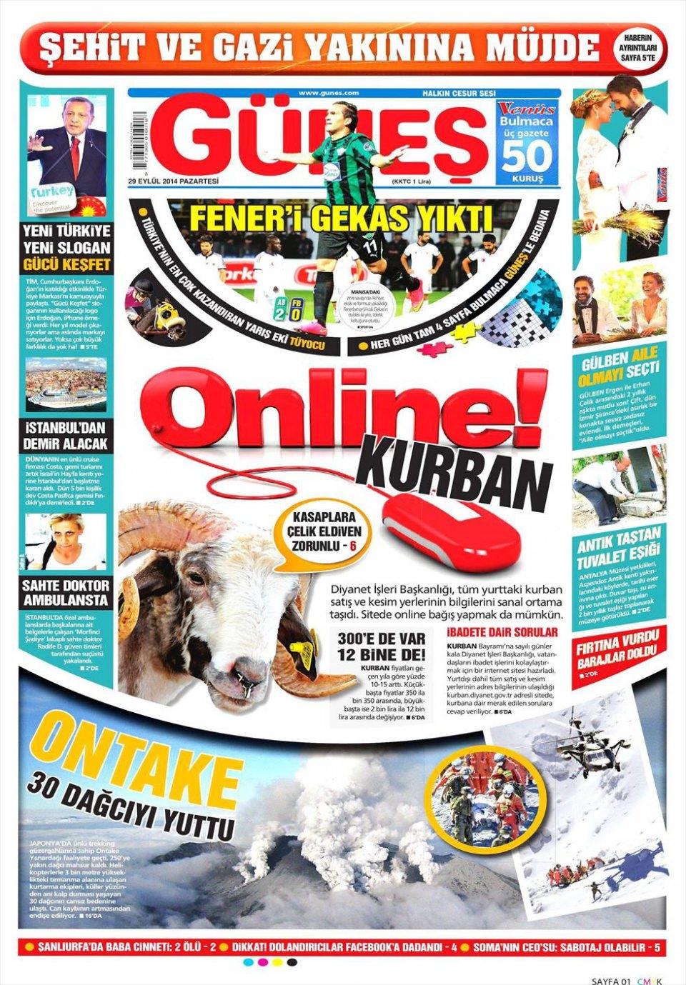 29 Eylül 2014 gazete manşetleri 9