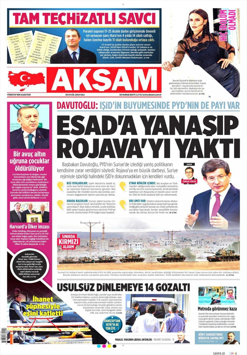 30 Eylül 2014 gazete manşetleri 1