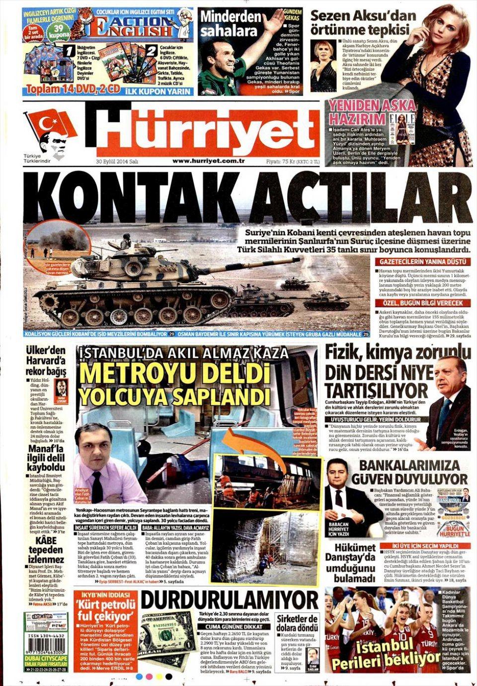 30 Eylül 2014 gazete manşetleri 11