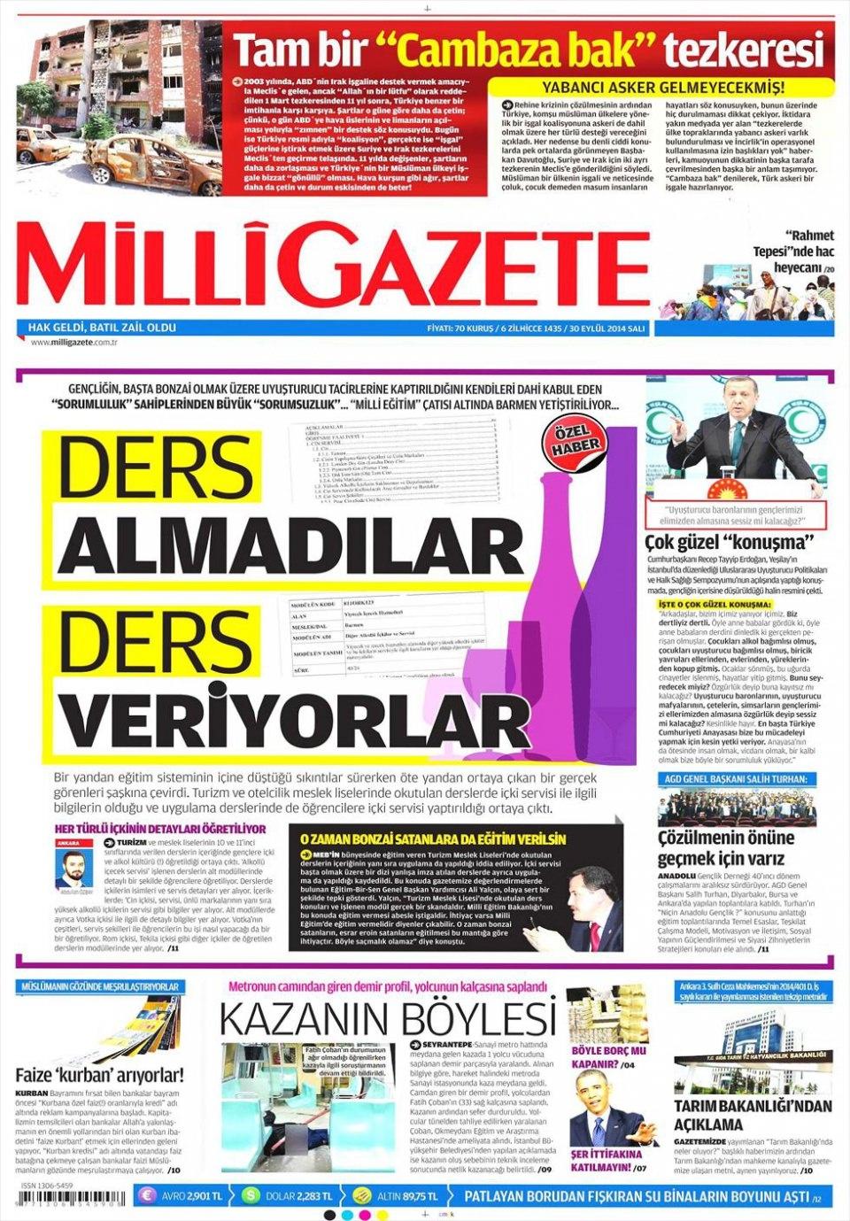 30 Eylül 2014 gazete manşetleri 12