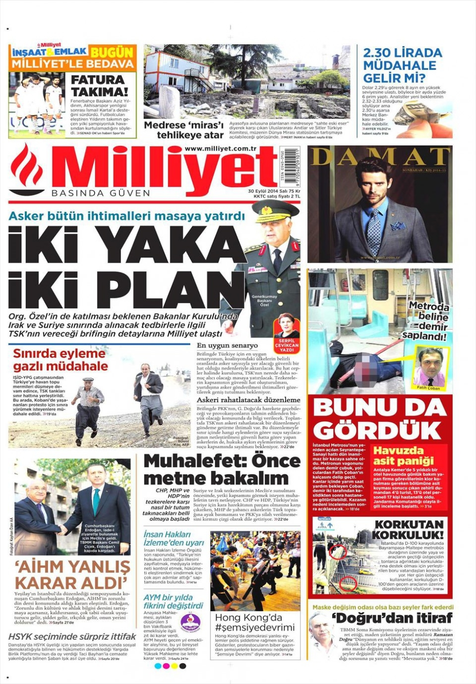 30 Eylül 2014 gazete manşetleri 13