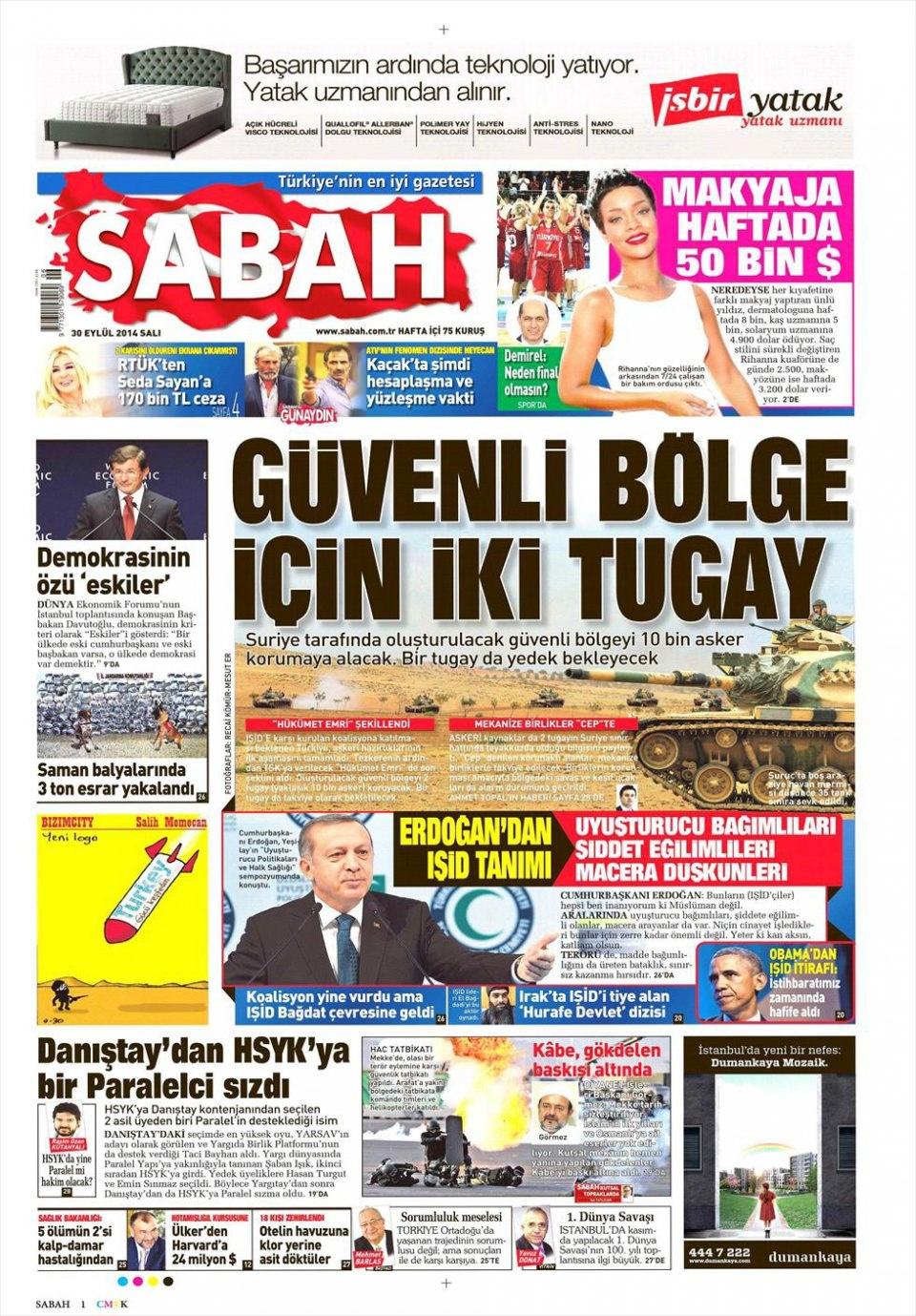 30 Eylül 2014 gazete manşetleri 16