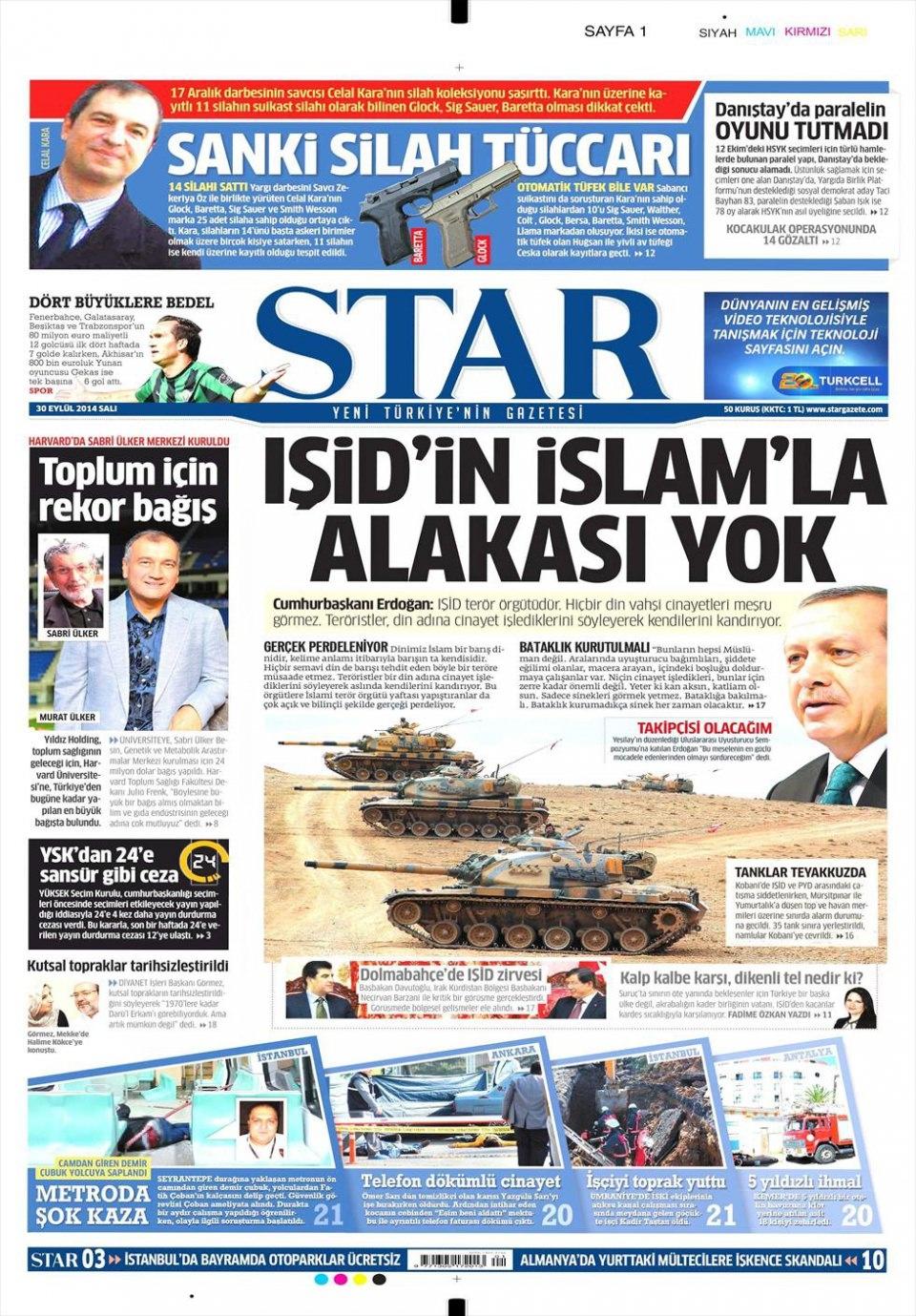 30 Eylül 2014 gazete manşetleri 18