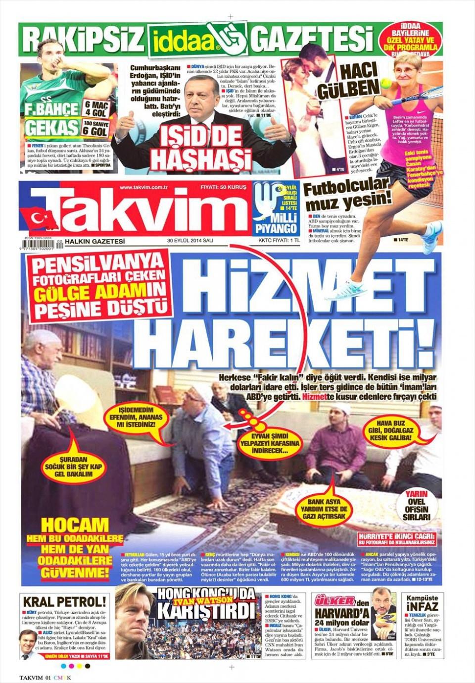 30 Eylül 2014 gazete manşetleri 19