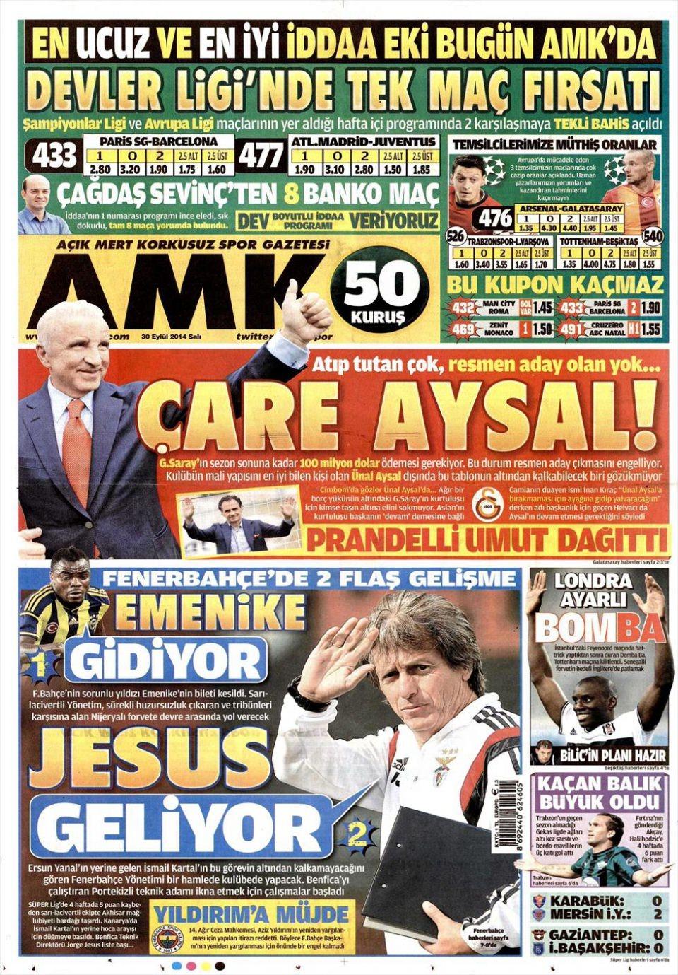 30 Eylül 2014 gazete manşetleri 2