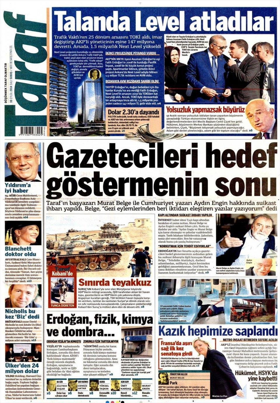 30 Eylül 2014 gazete manşetleri 20