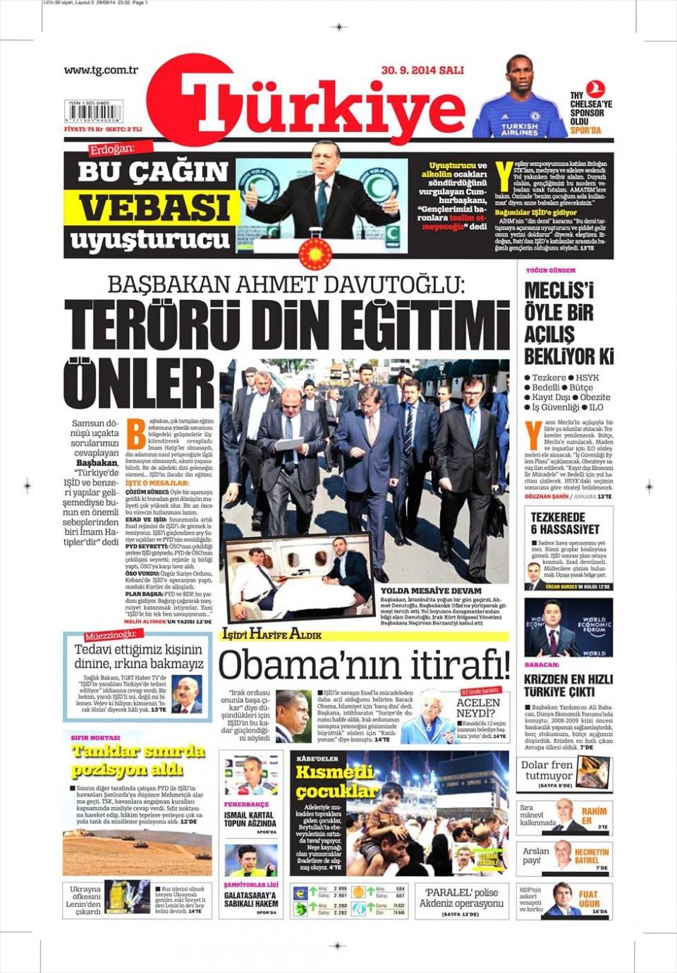 30 Eylül 2014 gazete manşetleri 21