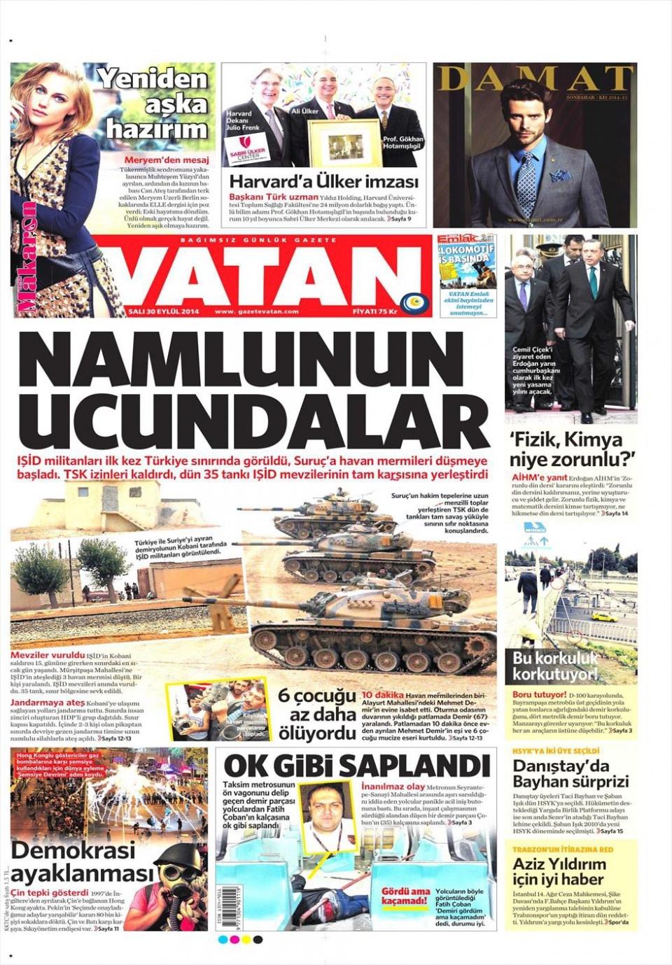 30 Eylül 2014 gazete manşetleri 22