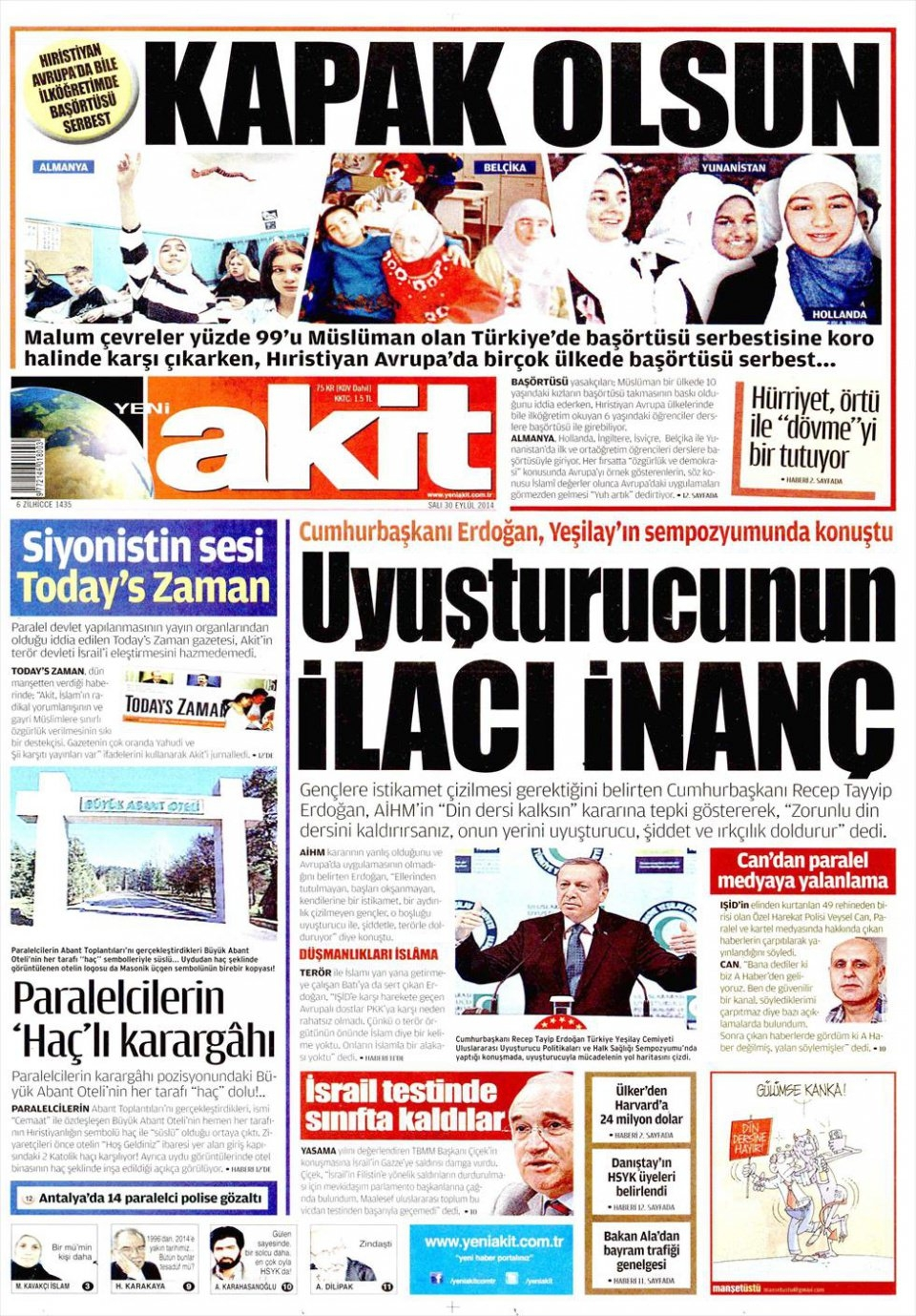 30 Eylül 2014 gazete manşetleri 23