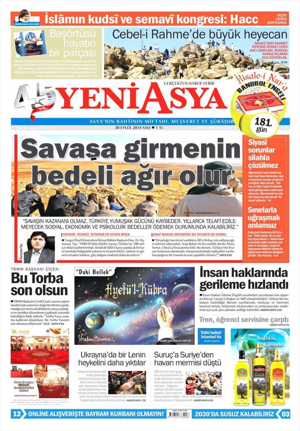 30 Eylül 2014 gazete manşetleri 24