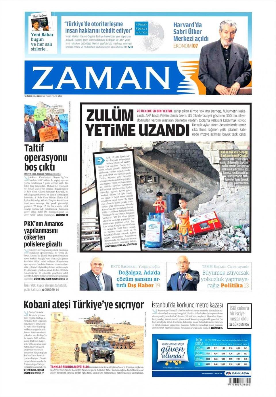 30 Eylül 2014 gazete manşetleri 26