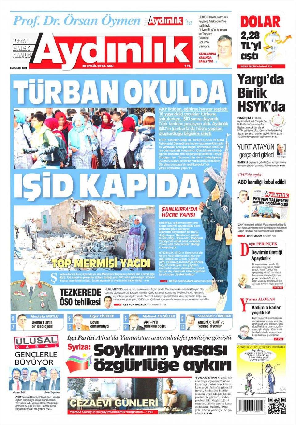 30 Eylül 2014 gazete manşetleri 3