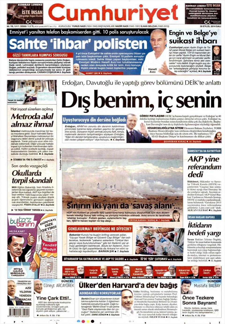 30 Eylül 2014 gazete manşetleri 5