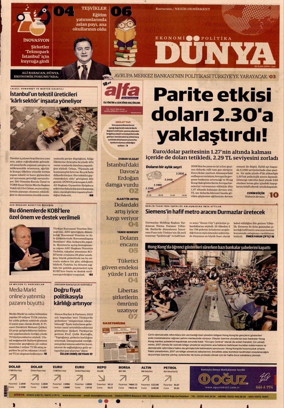 30 Eylül 2014 gazete manşetleri 6