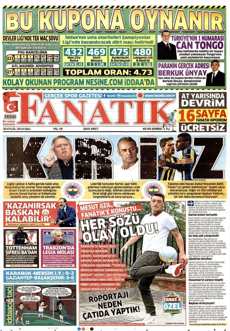 30 Eylül 2014 gazete manşetleri 7