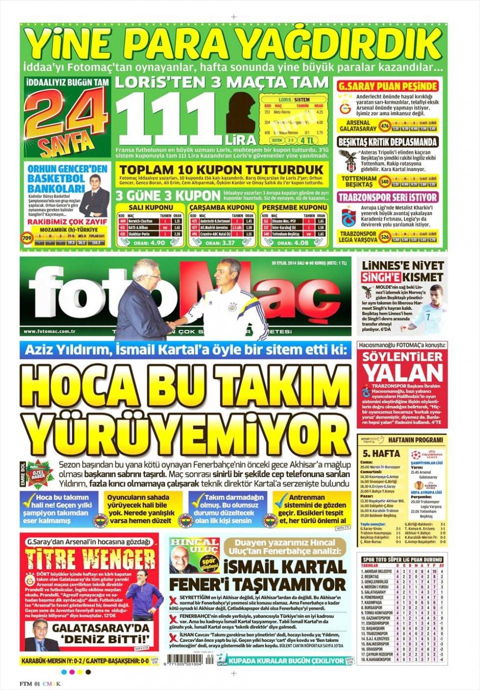 30 Eylül 2014 gazete manşetleri 8