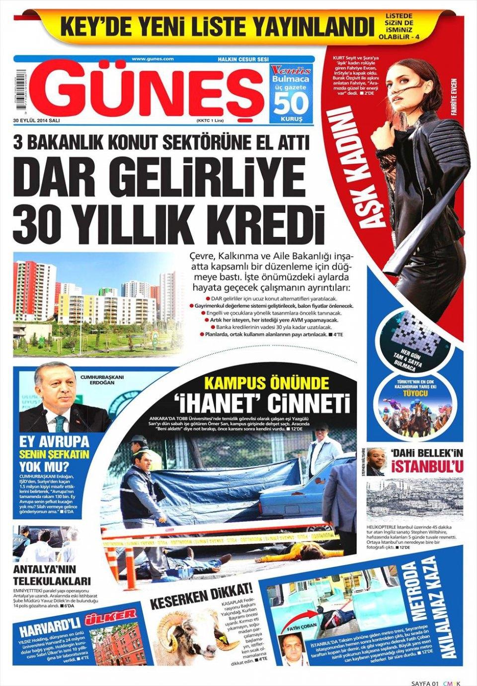30 Eylül 2014 gazete manşetleri 9