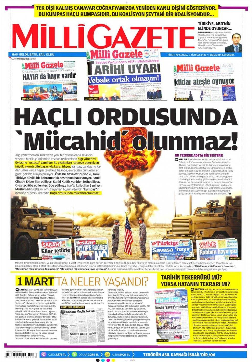 1 Ekim 2014 gazete manşetleri 11