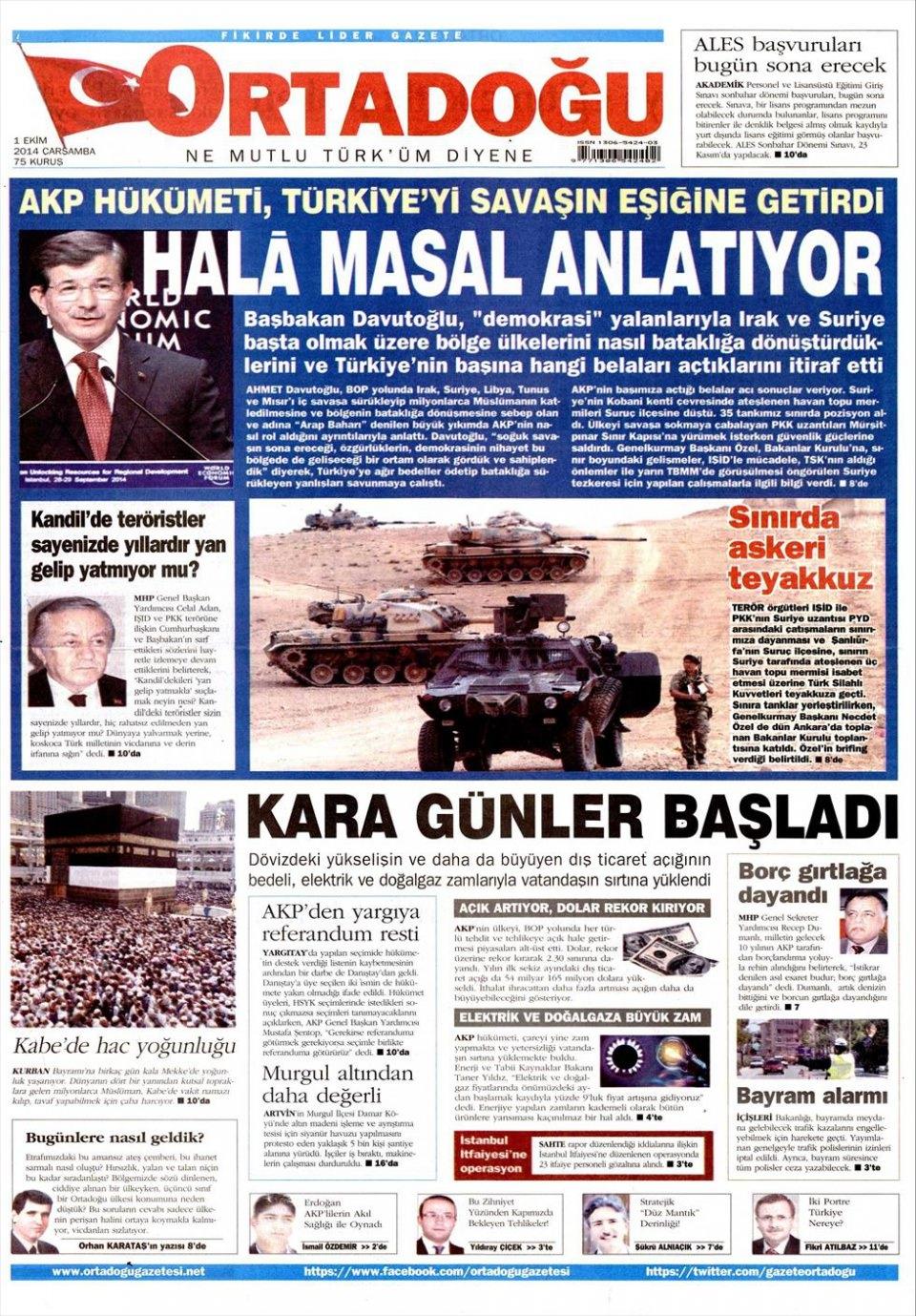 1 Ekim 2014 gazete manşetleri 13