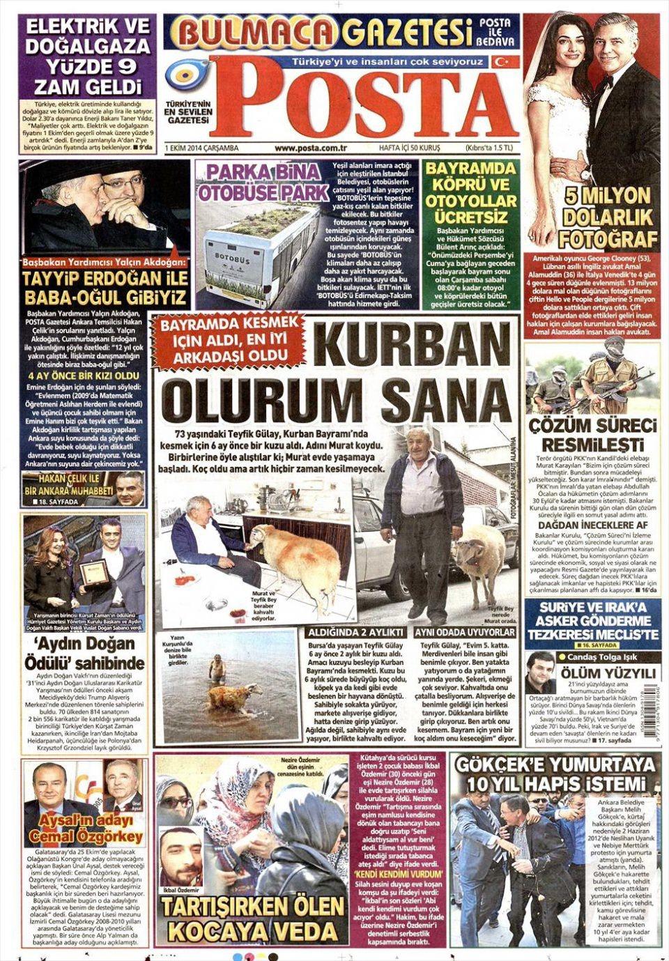 1 Ekim 2014 gazete manşetleri 14