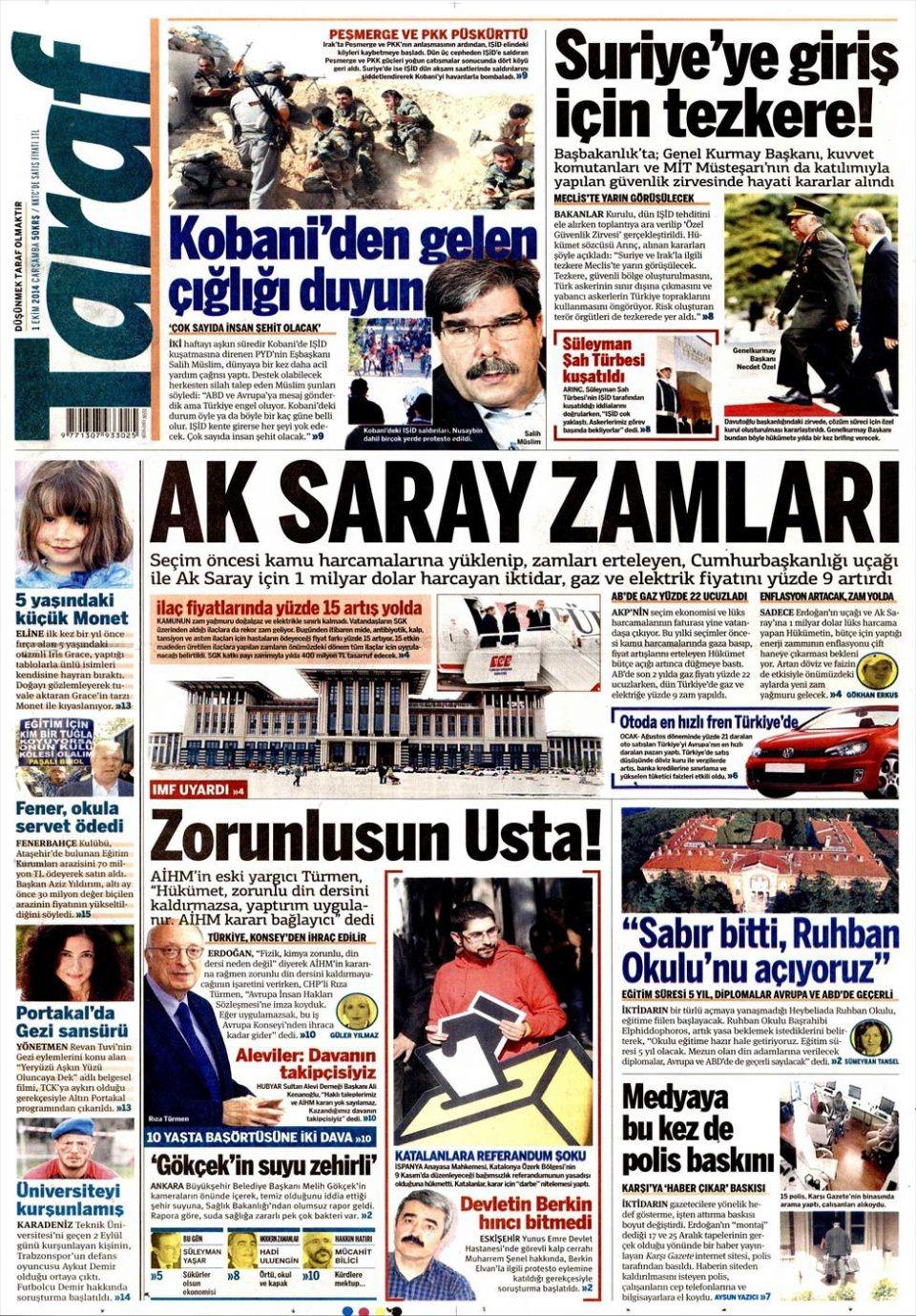 1 Ekim 2014 gazete manşetleri 19