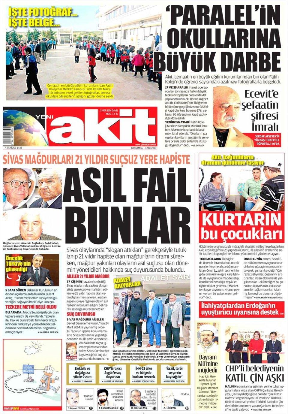 1 Ekim 2014 gazete manşetleri 22