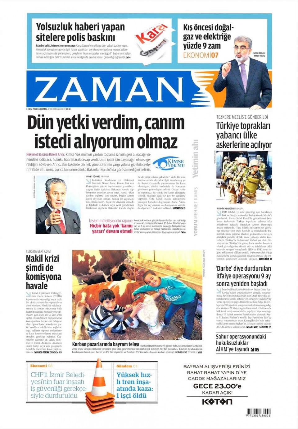 1 Ekim 2014 gazete manşetleri 25