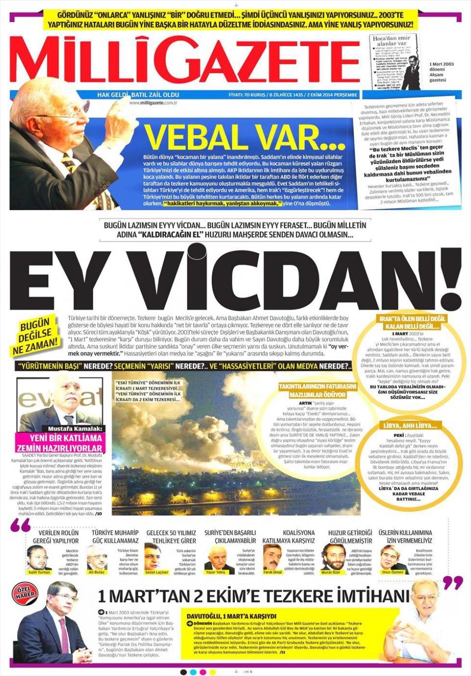 2 Ekim 2014 gazete manşetleri 11