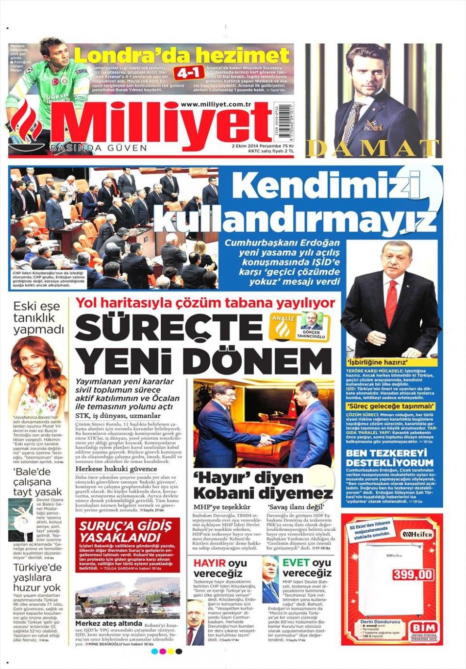 2 Ekim 2014 gazete manşetleri 12