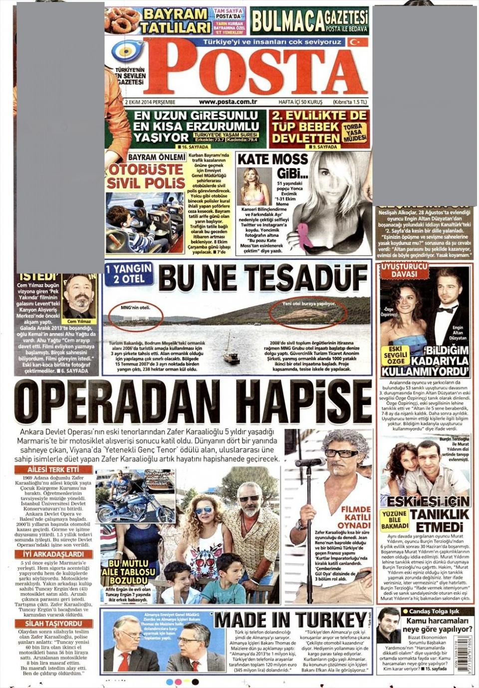 2 Ekim 2014 gazete manşetleri 14