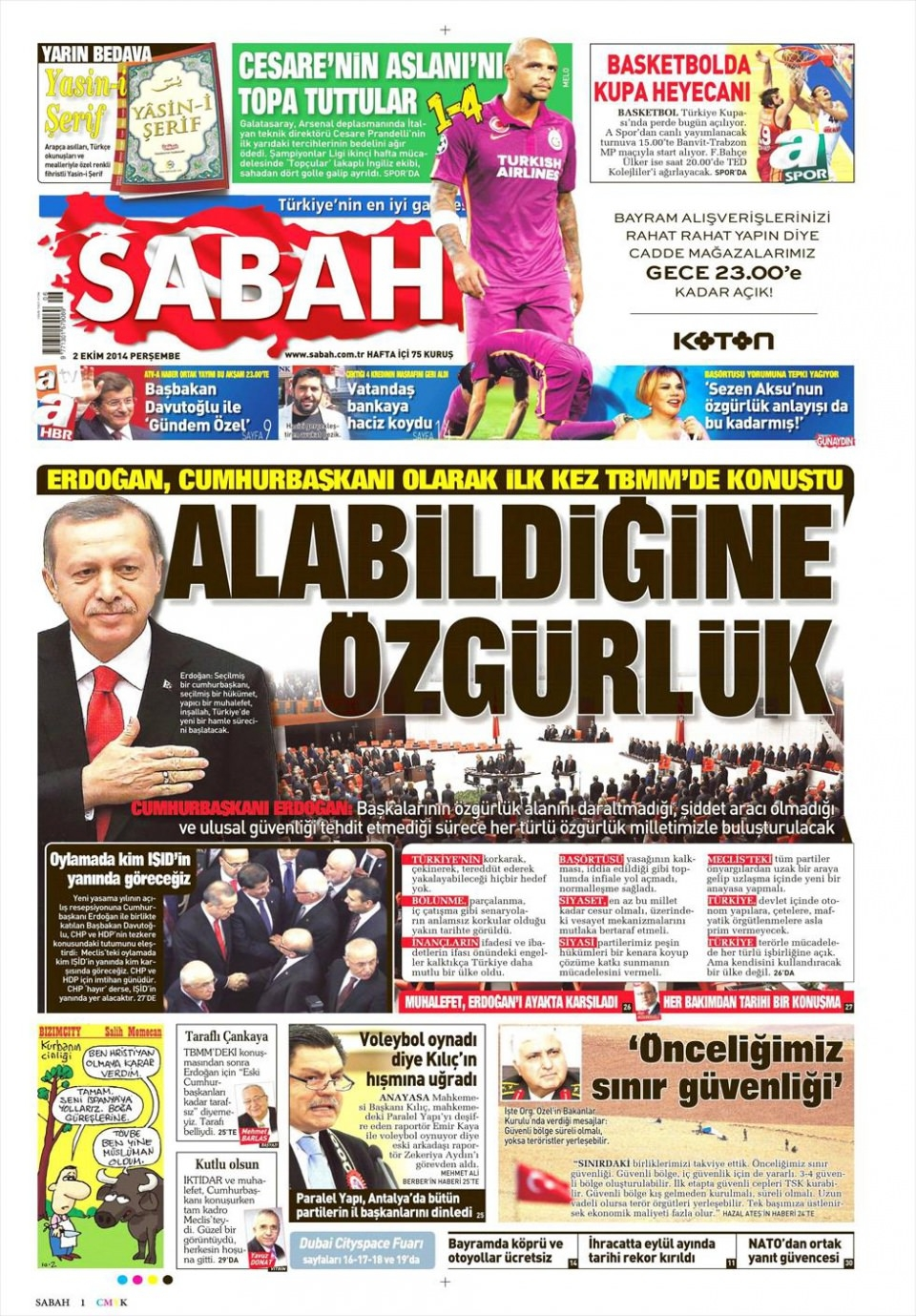 2 Ekim 2014 gazete manşetleri 15