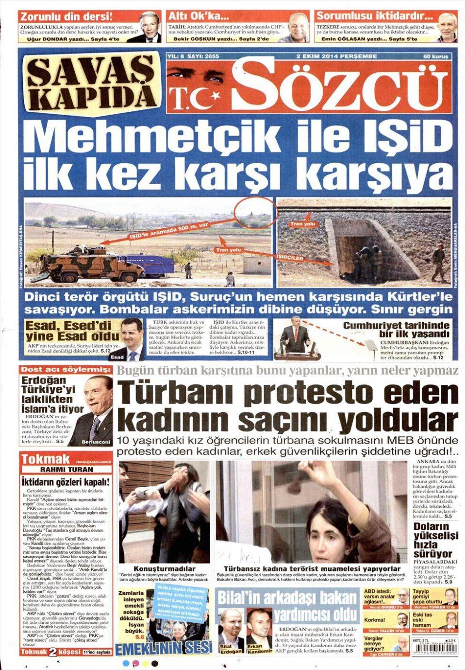 2 Ekim 2014 gazete manşetleri 16